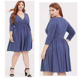 Torrid Blue Heather Jersey Skater Dress